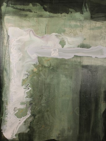 abstract painting-green white-acrylic-Green Fire