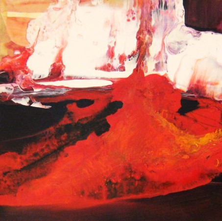 abstract painting-red black white-acrylic-lava 1