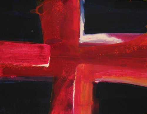 abstract painting-red blue-acrylic-Cross