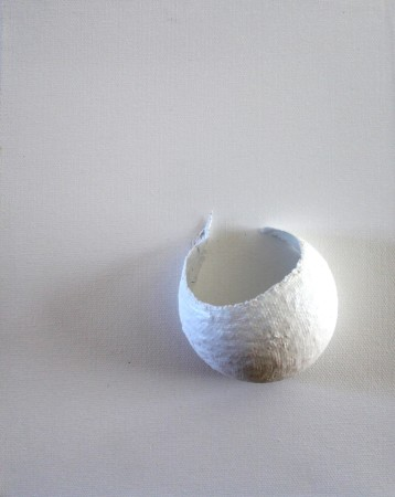 abstract painting white mixed media sphere