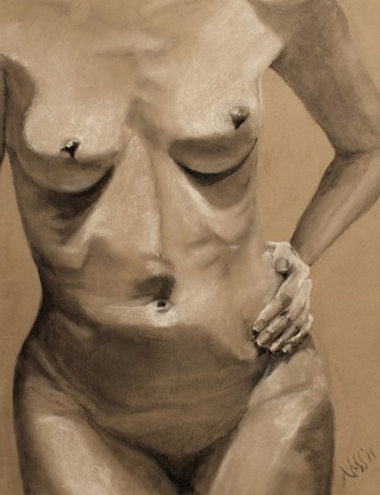 drawing-female torso-charcoal-Eve