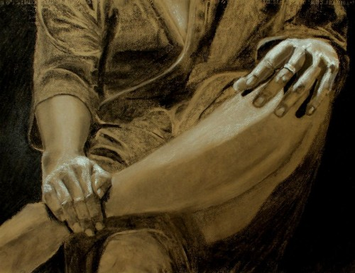 drawing-male hands-charcoal-zacks ring