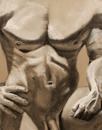 drawing-male torso-charcoal-Adam