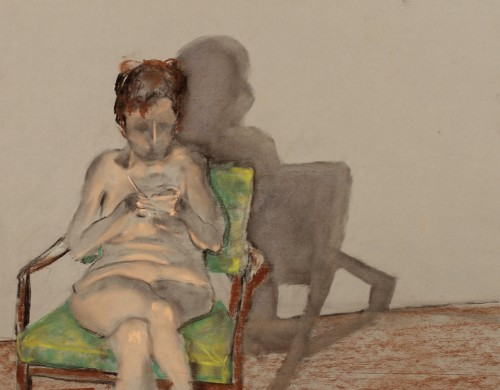 drawing-seated woman-pastel-taking notes