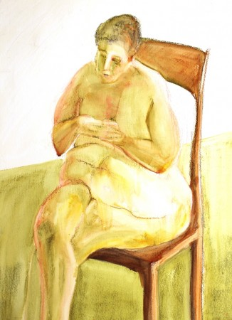 drawing-seated woman-watercolour crayon