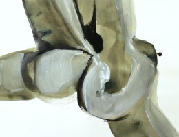 abstract figurative painting olive green dark and white