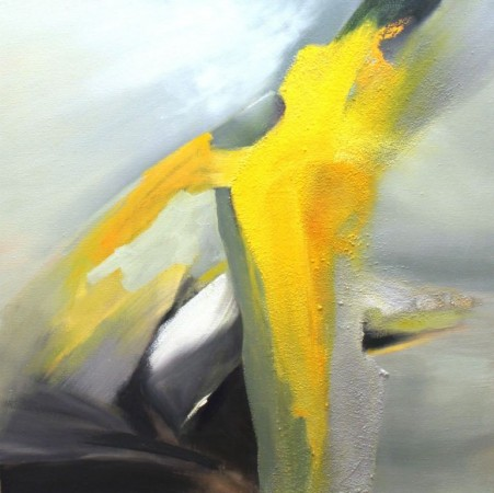 abstract painting-yellow grey-oil-yellow jag