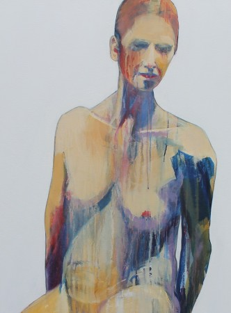 abstract figurative painting of the torso of a seated woman; figure sculpted out of dripping paint; colours ochre, blues, mauve, white gesso ground