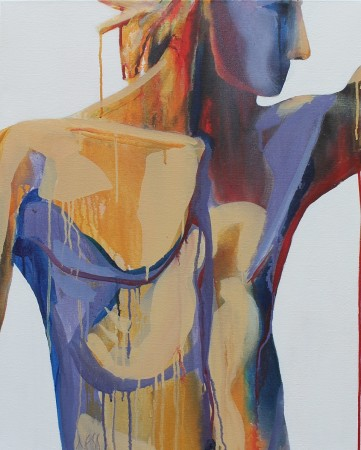 abstract figurative painting in acrylic of a male torso and head in profile; flowing paint in ochre, blue, red on a stark white ground