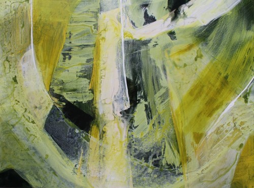 non-objective abstract acrylic painting in green gold, green, white, ivory and black